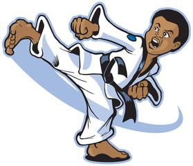 Boy Martial Artist Kicking Vector Clip Art