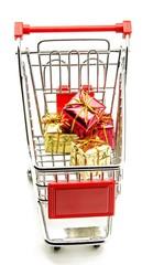 Carro de la compra con regalos