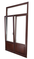 Plastic Double Glazing Window, color dark mahogany,  tilted in v