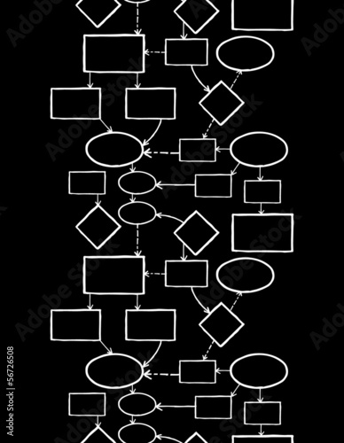 Vector blackboard chalk mind map vertical seamless pattern