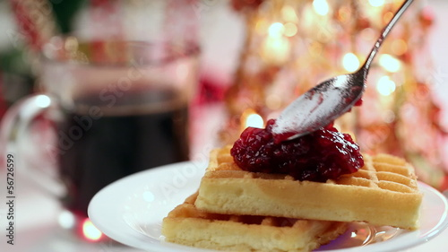 waffles with jam and Christmas spirit