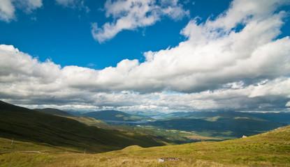 Scottish highlands and blue sky