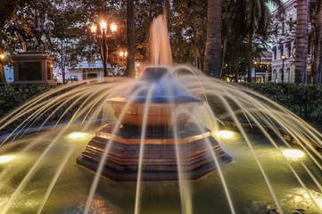Historical Fountain in the park Cartagena de Indias, Colombia. S