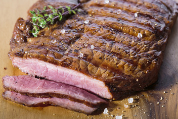 sliced ​​beef steak medium rare