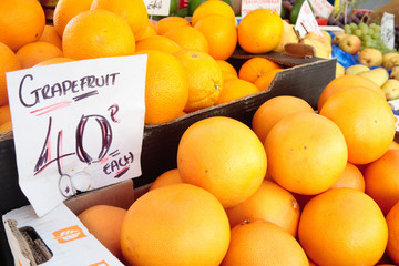 Fresh grapefruits
