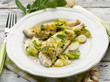 fish fillet with pistachio sage and leek