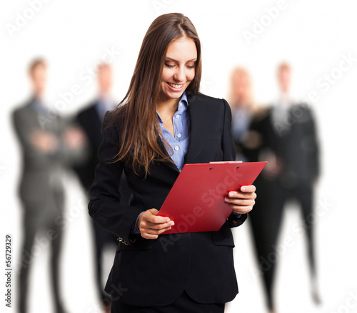 Woman holding a clipboard