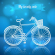 White doodle vector bike on blue background