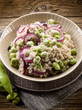 barley risotto with beans broad and onions, vegetarian food