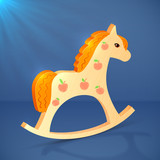 Little cartoon vector wooden horse toy