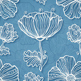 Ornate blue cutout paper floral vector background