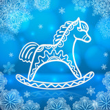 Blue new year card with white paper horse
