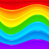 Bright rainbow vector plastic waves background