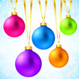 Bright colorful rainbow Christmas balls