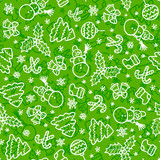 Green christmas seamless pattern in cartoon style