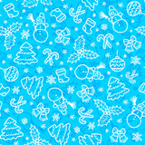 Blue christmas seamless pattern in cartoon style