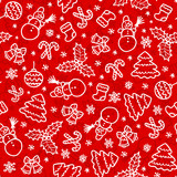 Red christmas seamless pattern in cartoon style