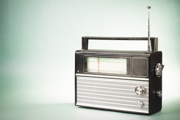 Retro radio photo on old vintage background
