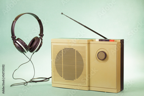 Retro radio and headphones conceptual photo