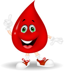 Cute red blood cartoon pointing his finger