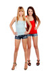 Two teen sisters with jeans shorts