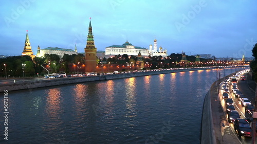 Moscow Kremlin and ships on river - from day to night timelapse © Kokhanchikov
