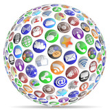 Social Media Sphere Shadow Round Icons 2