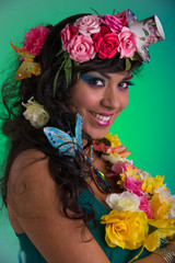 Young woman with floral wig