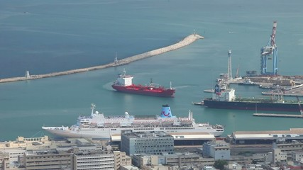 Ship is moored in the port of Haifa.