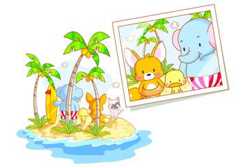 cute animals cartoon view photo on the beach