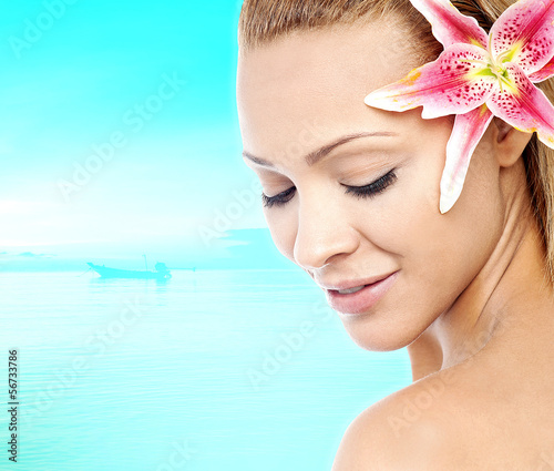 Beauty clean face of young sensual woman
