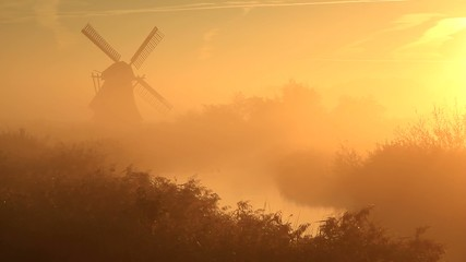 Foggy, yellow sunrise at windmill