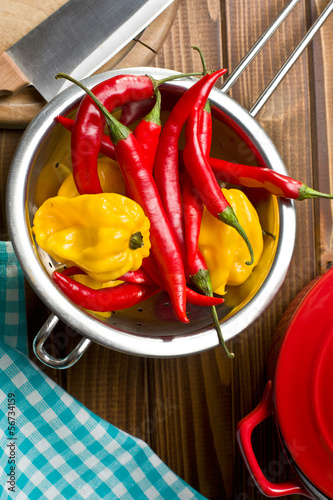 chili peppers with habanero in colander