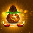 Fantastic diwali pooja kalash diya colorful background vector