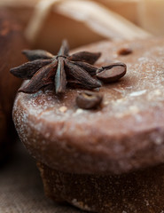 Handmade soap with coffee beans, cinnamon and anise star
