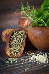 Macro composition of Italian cooking ingredients, garlic, rosema