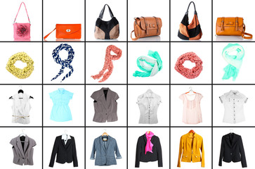 Collage of modern clothes and accessories