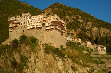 Dionysiou monastery view from the sea, Mount Athos