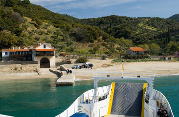 Ferry boat is arriving at the port of Hilandar monastery