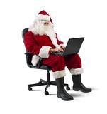 Modern Santa Claus with laptop