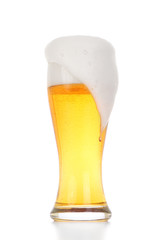 Glass of light beer isolated on white