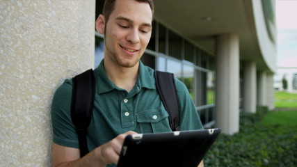 Teenage Caucasian University Student Wireless Tablet