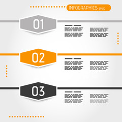 orange three infographic hexagons