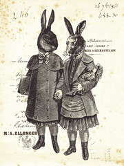 Two Rabbits hand in hand