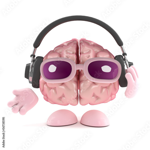 Brain loves to listen on his headphones