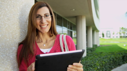 Portrait Female Caucasian College Lecturer Touch Screen Tablet