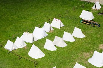 camp on the green lawn