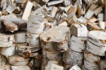 Birch fire wood, close up