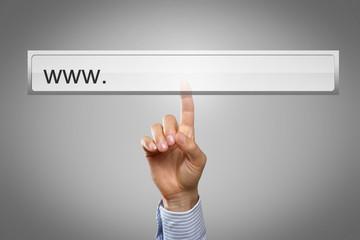 Hand touching Display Webadress