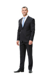Full-length portrait of business man, isolated on white